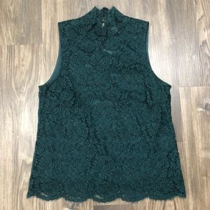 H & M Green Lace High Neck Sleeveless Top